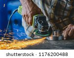 closeup angle grinder hand... | Shutterstock . vector #1176200488