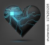 electronic heart with a glowing ... | Shutterstock .eps vector #1176201205