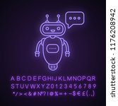 chatbot typing answer neon... | Shutterstock .eps vector #1176208942
