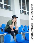 young man talking on the phone   Shutterstock . vector #1176221845