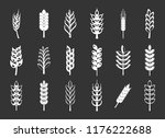 wheat icon set white isolated... | Shutterstock . vector #1176222688