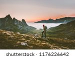 man backpacker hiking in... | Shutterstock . vector #1176226642