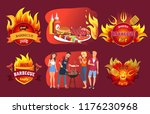 barbecue party emblems  people... | Shutterstock .eps vector #1176230968