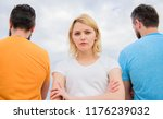 girl thinking whom she going... | Shutterstock . vector #1176239032