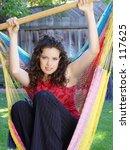 cute girl in a hammock | Shutterstock . vector #117625