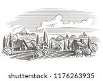 countryside landscape engraving ... | Shutterstock .eps vector #1176263935