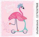 cute flamingo with sunglasses ... | Shutterstock .eps vector #1176267868