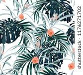 seamless pattern  dark green... | Shutterstock .eps vector #1176271702