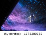 heavy snowfall in a night city. ...   Shutterstock . vector #1176280192