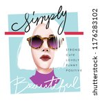 simply beautiful slogan with... | Shutterstock .eps vector #1176283102