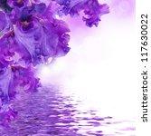 Blue Irises Against A Green...