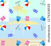summer travel suitcase ball... | Shutterstock .eps vector #1176318535