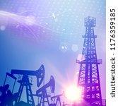 oil tower with derrick crane on ... | Shutterstock .eps vector #1176359185