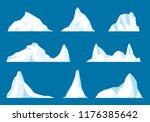 floating iceberg set. frozen...   Shutterstock .eps vector #1176385642