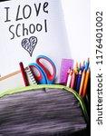 close up of full grey school... | Shutterstock . vector #1176401002