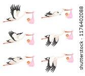 flying stork frame animation.... | Shutterstock .eps vector #1176402088