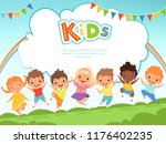 children jumping background.... | Shutterstock .eps vector #1176402235