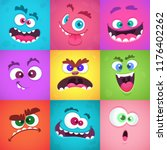 monsters emotions. scary faces... | Shutterstock .eps vector #1176402262