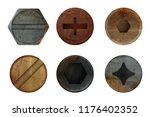 old rusty bolts screw. hardware ... | Shutterstock .eps vector #1176402352