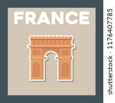 france culture card with arch... | Shutterstock .eps vector #1176407785