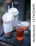 hot tea on set of cool drink... | Shutterstock . vector #1176422695