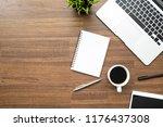 blank notebook is on top of...   Shutterstock . vector #1176437308