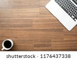 wood office desk table with... | Shutterstock . vector #1176437338