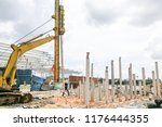 worker carrying out ground... | Shutterstock . vector #1176444355