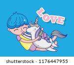 boy and unicorn cute cartoons | Shutterstock .eps vector #1176447955