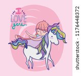 girl with unicorn cute cartoon | Shutterstock .eps vector #1176448372