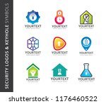collection of security logos... | Shutterstock .eps vector #1176460522