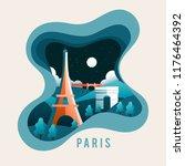 city scene in paper cut style   ... | Shutterstock .eps vector #1176464392
