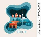 city scene in paper cut style   ... | Shutterstock .eps vector #1176464398