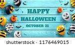 happy halloween banner with... | Shutterstock .eps vector #1176469015
