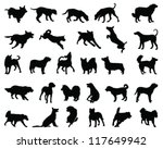 Stock vector silhouettes dog breeds vector 117649942