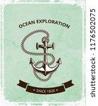 anchor logo on a retro grunge...   Shutterstock .eps vector #1176502075