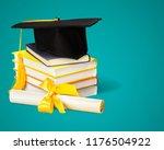 graduation mortarboard on top... | Shutterstock . vector #1176504922