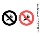 push pin ban  prohibition icon. ...