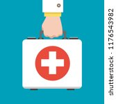 doctor first aid kit. hand hold ... | Shutterstock .eps vector #1176543982