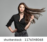 young woman with long straight... | Shutterstock . vector #1176548068