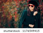 fashion girl wearing velvet...   Shutterstock . vector #1176549415