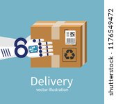 robot does the delivery. a... | Shutterstock .eps vector #1176549472