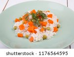 steamed rice with green peas... | Shutterstock . vector #1176564595