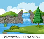 waterfall river wood scene... | Shutterstock .eps vector #1176568732