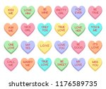 Stock vector sweet heart candy sweetheart candies isolated on white background conversation sweets for 1176589735