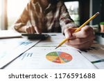 close up of bookkeeper or... | Shutterstock . vector #1176591688