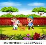 the children are playing with... | Shutterstock . vector #1176592132