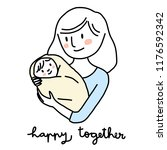 happy mom holding baby swaddled ... | Shutterstock .eps vector #1176592342