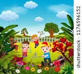 the cute children play to catch ... | Shutterstock . vector #1176596152