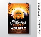 halloween party flyer vector... | Shutterstock .eps vector #1176597235